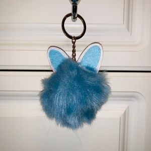 Blue Fluffy Pom Pom with Bunny Ears Keychain